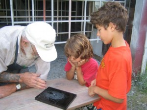 Showing a web to some young visitors
