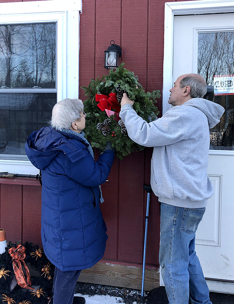 Hanging our Christmas Wreath 2018
